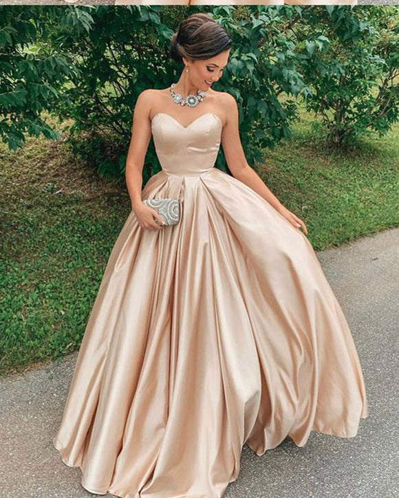 Shiny Satin Sweetheart Long  Prom Dress PL2227