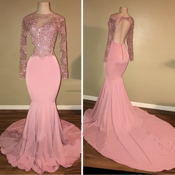 Pink African Women Long Prom Dress Lace Sequins Formal Party Dresses robe de bal LP035