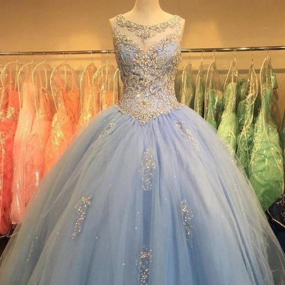 Blue Ball Gown Quinceanera Dress Sweet 16 years party gown prom dresses Boat neck