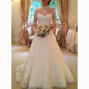 Romantic A Line Lace Wedding Gown High Neck Bridal Dress with Sleeves vestidos de novia