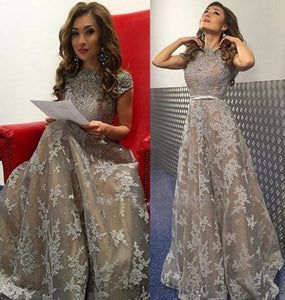 Siaoryne LP0923 Short Sleeves Champagne Grey Long Prom Dress Lace formal gowns