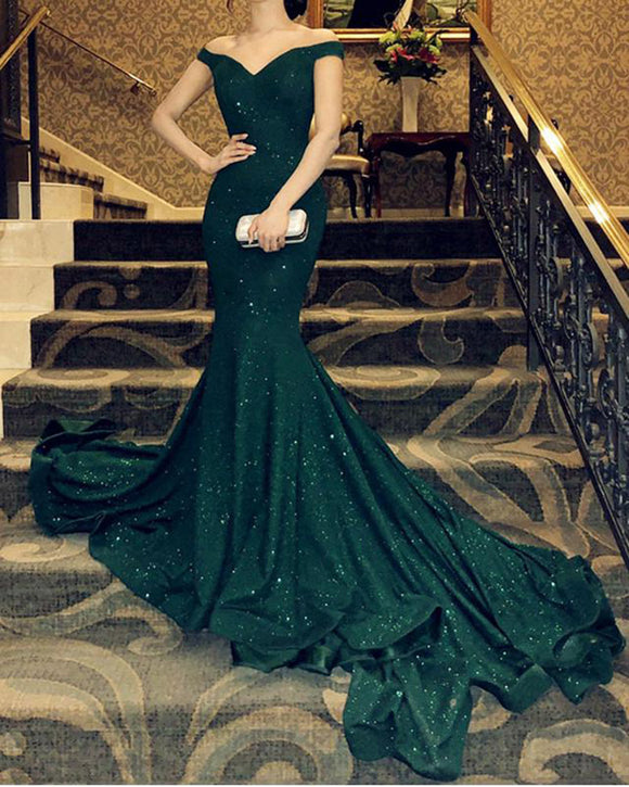 Glitter Sexy Fitted Long Evening Dresses Dark Green Off the Shoulder Formal Party Gown PL5448