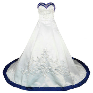 Sweetheart Royal Blue and White Wedding Dress A Line Satin Embroidery Lace Bridal Gown WD302