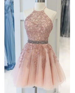 Halter Lace Blush Pink Homecoming Dress,Beading Semi Formal Cocktail Dress , SP07284
