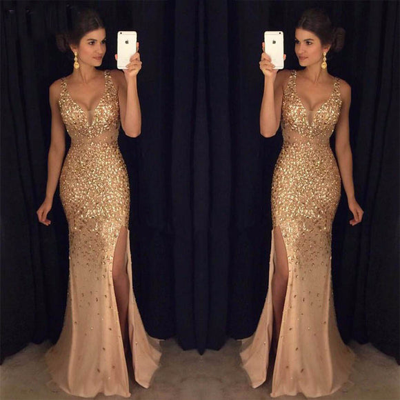 Luxury Crystal Rhinestones Prom Dresses party Evening Gowns Mermaid Sexy  Style 47d55e1f4626