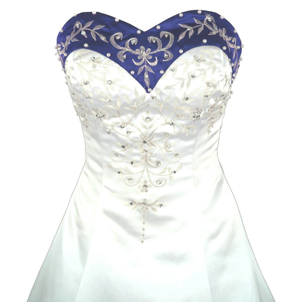 Blue And White Wedding Gowns: Sweetheart Royal Blue And White Wedding Dress A Line Satin