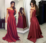 LP5501 Off the shoulder Burgundy Long Prom Dresses Taffeta Formal Gown 2018