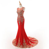 Siaoryne O Neck Cap Sleeves Mermaid Prom Evening Dresses Women Formal Gowns With Applliqued Lace
