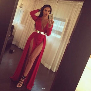 Sexy Deep V Neck Red  Slit Evening Party Gown Women Long Prom Gown with golden belt