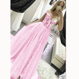 LP5513 Gorgeous off the Shoulder Lace Prom dresses 2018 Girls Pageant Gown Formal Long Gown