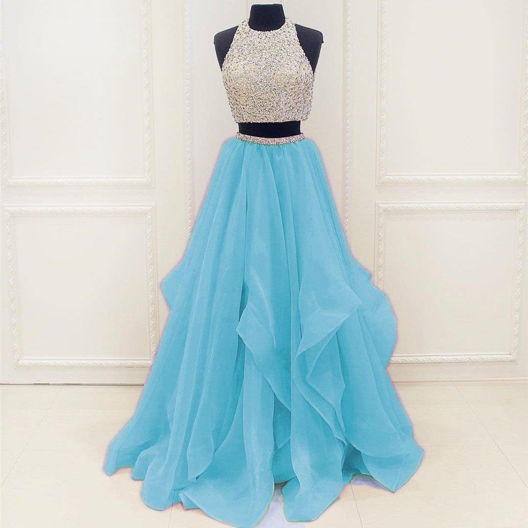 Siaoryne Halter Beading Crop Top Two Pieces Prom Dress formal gowns ev
