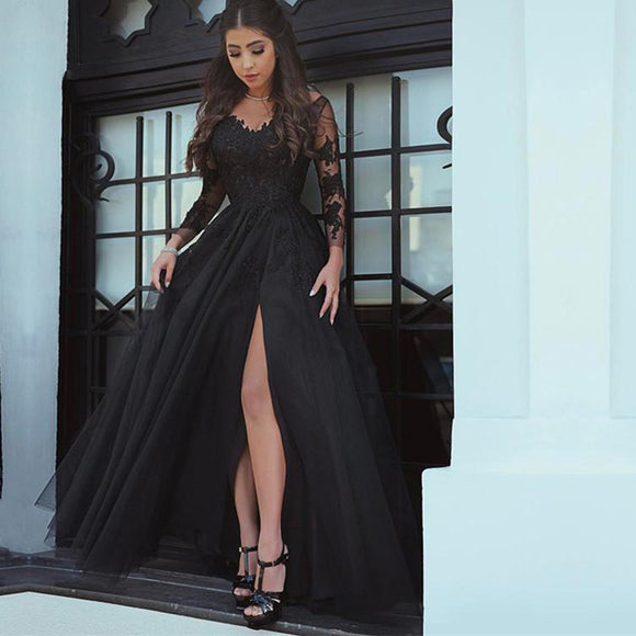 Stunning Black Lace Evening Dress Women Prom Dress with Split Leg avondjurken gala jurken
