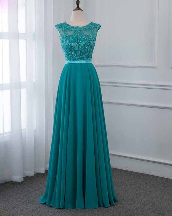Turquoise Long Lace Chiffon Prom Dresses Party Gown PL2145