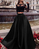 Crop Top Two Pieces Long prom Dress with lace appliques with Long sleeves