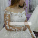 Romance Off the Shoulder Long Sleeves Lace Bridal Dresses vestido de casamento Wedding Gown Ball Gown WD5601