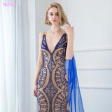 Siaoryne Fabulous Royal Blue Cape Fitted Long Women Evening Gown 2020 with Rhinestone Full Embroidery PL4455