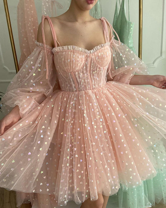 Puff Sleeves Blush Pink Cocktail Party Dresses  Tulle Short Prom Gowns Above Knee Length SP105023