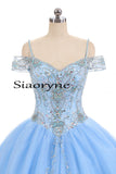 Cold Shoulder Sky Blue Sweet 16 Dresses Girls Quinceanera Gown Ball Gown Prom Dress
