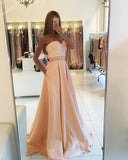 A Line Blush Pink Formal Party Dress with Pocket ,satin 2019 Girls Long Senior Graduation Prom Dresses With Beading Belt PL8746