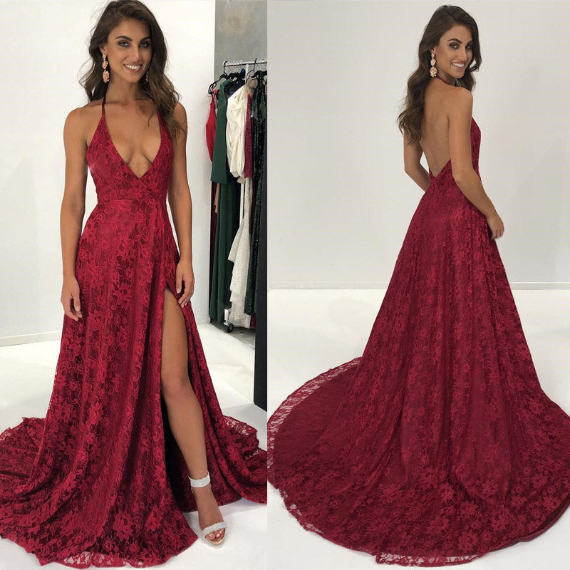 Sexy Halter Lace Dark Red Prom Dresses 2018 Women Formal