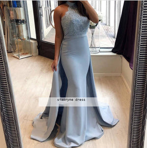 Fashion Baby Blue Fit Prom Dresses with Over skirt Halter High Neck Women Lace Formal Evening Dresses Long