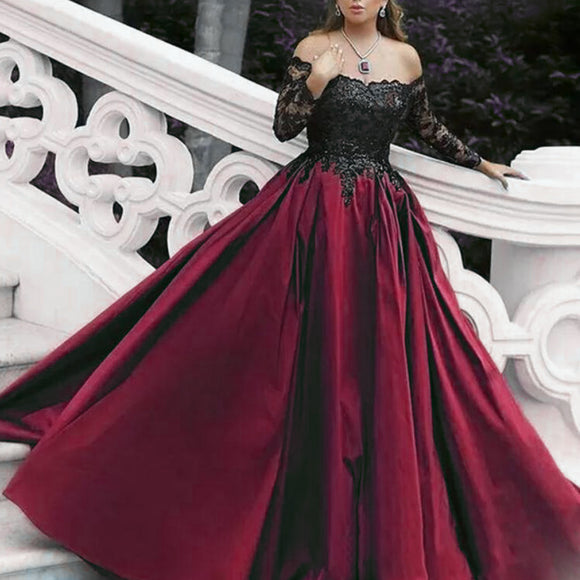 Stunning Burgundy Women Formal Evening Gown Off the Shoulder Long Sleeves satin A Line Lace Prom Dresses