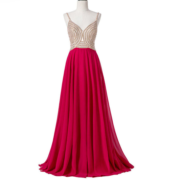 Red Long Beaded Prom Dresses with Straps A Line Chiffon Women Formal Evening Dresses 2018