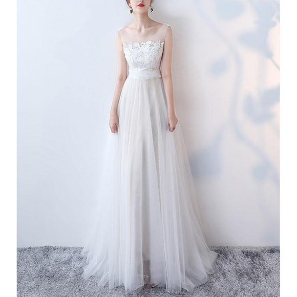 Lace and tulle Beach Bridal Gown Lace Bohe Wedding Dresses Long Robe De Mariee WD5539