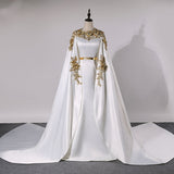 Muslim Women Evening Dress Long Mermaid Dubai Prom Dress Arabic Caftan Formal Gown With Gold Lace Appliqued