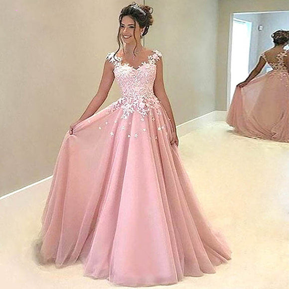 Fancy Pink Appliqued Lace Long 2020 Prom Dress balo elbiseleri Women Formal Party Gown