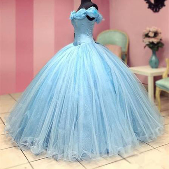 Cinderella Corset Prom Dress Ball Gown Girls Sweet 16 Debutante Gown Birthday Quinceanera Dress