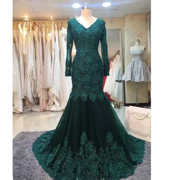 Dark Green Lace Embellishment Mermaid Evening Gown Mother of the Bride Dresses Women Formal Dress 2018