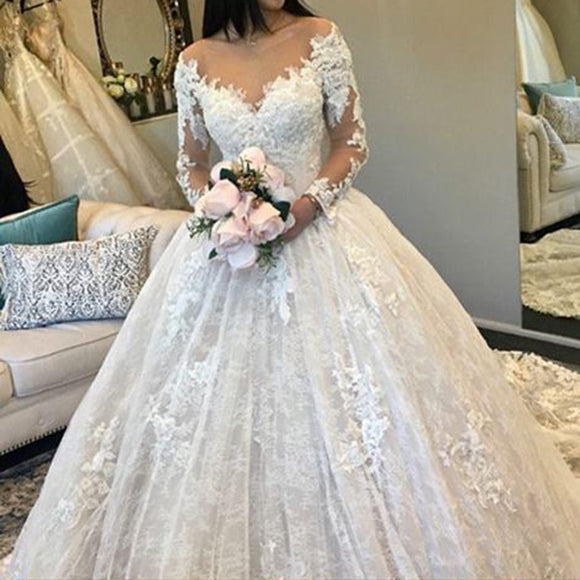 A Line Long Sleeves Lace Wedding Dresses Bridal Gown Vestido De Novias