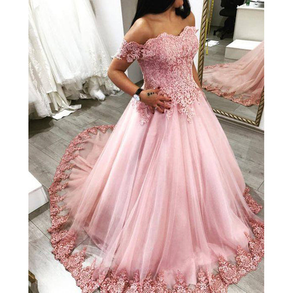 Pink Ball Gown Lace Prom Dresses Vestido De Festa 2018 Evening Formal Gown