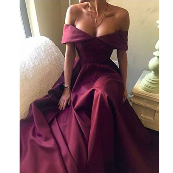 Sexy Off the Shoulder Red Wine Prom Dress Women Formal  A Line Evening Dresses Vestido De Festa 2018