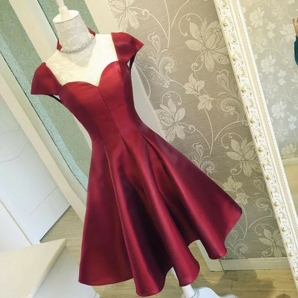 2018 Cap Sleeves Burgundy Short Homecoming Dresses A Line 8th Graduation Gown