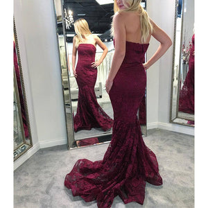 Gorgeous Burgundy Lace Prom Dresses Strapless Mermaid formal outfits Evening Long Gown