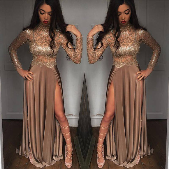 Bling Bling Golden  Sequins Prom Dresses Long Sleeves Formal Evening Dress with Sexy Slits 2018