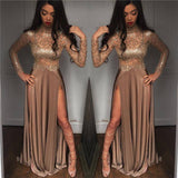 Bling Bling Golden  Sequins Prom Dresses Long Sleeves Formal Evening Dress with Sexy Slits 2020