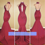 Red Mermaid Halter African Women Evening Gown Sexy Backless Prom Dress Lace abiti lunghi da sera 2018