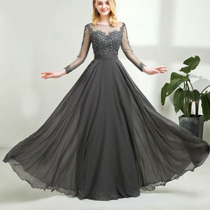 Elegant Long Sleeves Vintage Lace Chiffon Long Grey Mother of the Bride Dress 2020 with Long Sleeves