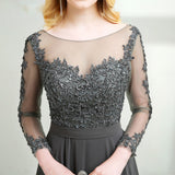 Elegant Long Sleeves Vintage Lace Chiffon Long Grey Mother of the Bride Dress 2018 with Long Sleeves