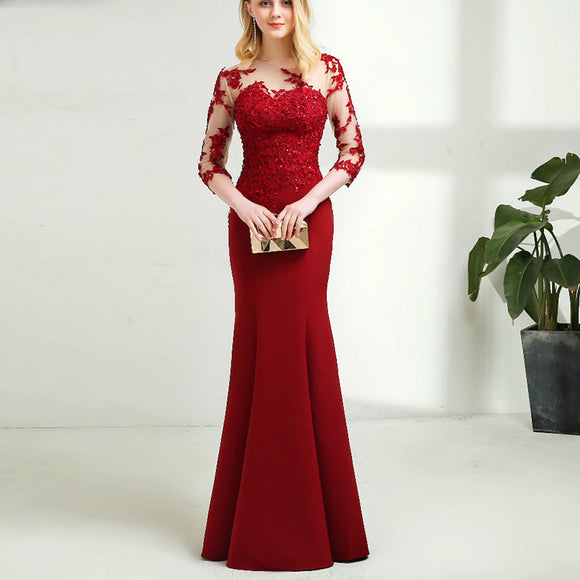 Elegant red Long Sleeves Mermaid Mother of the Bride Dress Lace Women Evening Gown