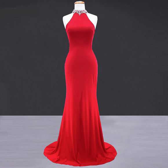 New High Neck Halter Fitted mermaid Formal Gown Red Prom 2018 Dresses Long Women Wear For Evening Party