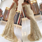 Champagne Lace Prom Dresses Long Evening Formal Gown  Off Shoulder Vestido De Festa