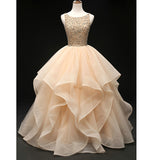 Champagne Crystal Poofy Ballgowns Beaded Prom Dresses Quinceanera Dress Debutante Gown