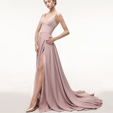 Pink Spaghetti Straps Bridesmaid Dresses Long Evening Gown vestido de formatura