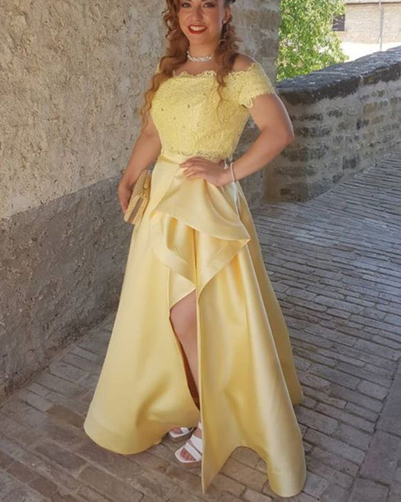 Elegant Off the Shoulder Lace Yellow Long Prom Dress 2020 PL0801
