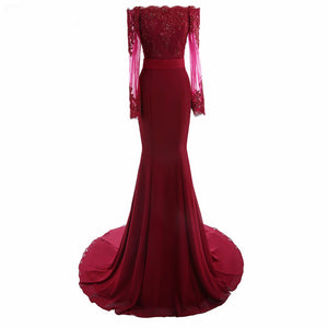 Burgundy Long Sleeves Bridesmaid Dress Lace Embellishment Women Formal Evening party Gown LP6621