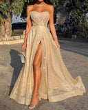 Elegant High Slit Off the Shoulder Sparkly Gold Sequins Prom Evening Party Dresses Long LP1223